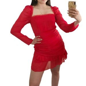 Talulah Maison Red Ruched Long Sleeve Mini Dress s